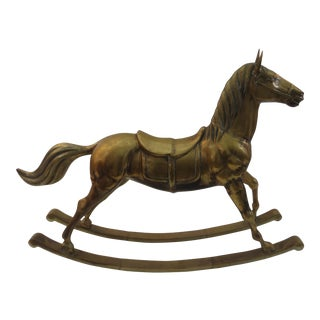Vintage Brass Hobby Rocking Horse For Sale