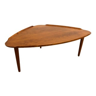 Aakjaer Jorgensen Danish Teak Triangular Coffee Table For Sale