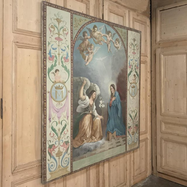 Renaissance 19th Century Grand Oil Painting on Canvas of the Annunciation For Sale - Image 3 of 13