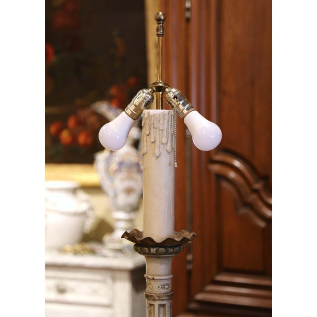 Mid 19th Century 19th Century Italian Carved Polychrome and Painted Floor Lamp on Tripod Base For Sale - Image 5 of 13