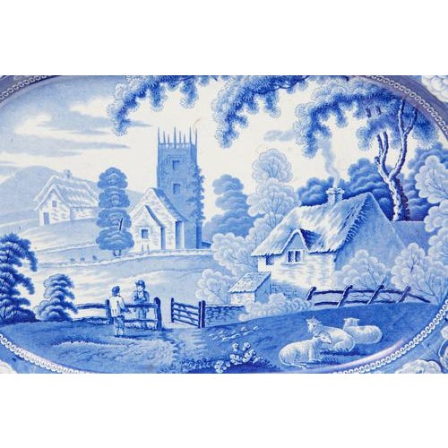 Large English Blue & White Platter For Sale - Image 4 of 4