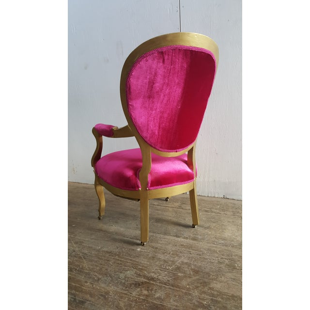 Victorian Antique Pink Velvet and Gold Chair For Sale - Image 5 of 7