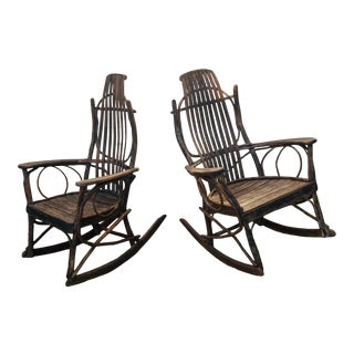 Vintage Bentwood Hickory and Oak Rockers - a Pair For Sale
