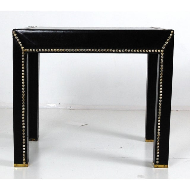 Mid Century Italian Leather Studded End Tables - a Pair - Image 2 of 10