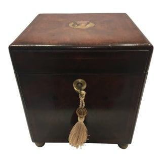 Theodore Alexander Burled Inlaid Wood Caddie Box With Lock