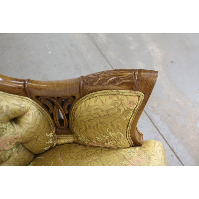 Gold Pair of Vintage French Tufted Fireside Ladies Parlor Arm Chairs For Sale - Image 8 of 13