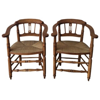 Spanish Horseshoe Back and Cane Armchairs - A Pair