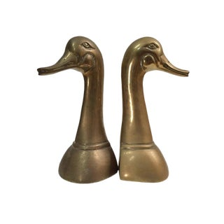 Vintage Brass Swan/Canadian Geese Bookends - a Pair For Sale