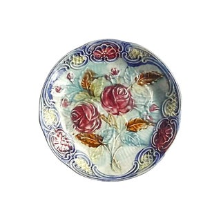 Antique French Rose Majolica Plate For Sale