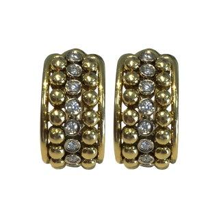 18k Gold and Diamond Half Hoop Clip Back Earrings For Sale