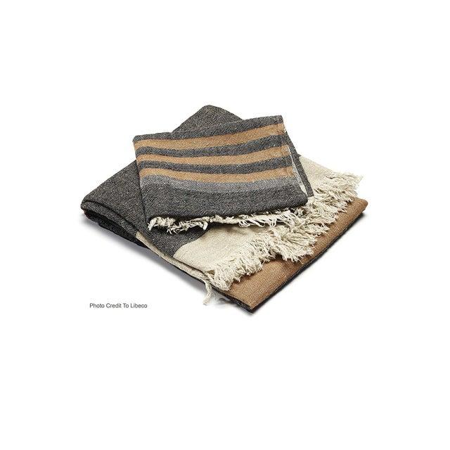 Boho Chic Belgian Black Stripe Towel For Sale - Image 3 of 10