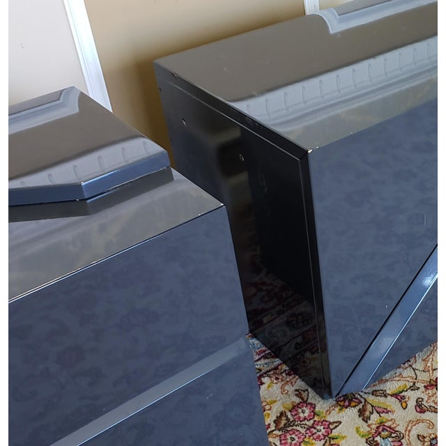 Lacquer 2 Canadian Rougier Streamlined Contemporary Lacquered Table Cabinets For Sale - Image 7 of 12