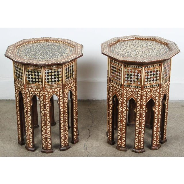 Pair of Syrian Octagonal Tables Inlaid with Mother-Of-Pearl For Sale - Image 10 of 10