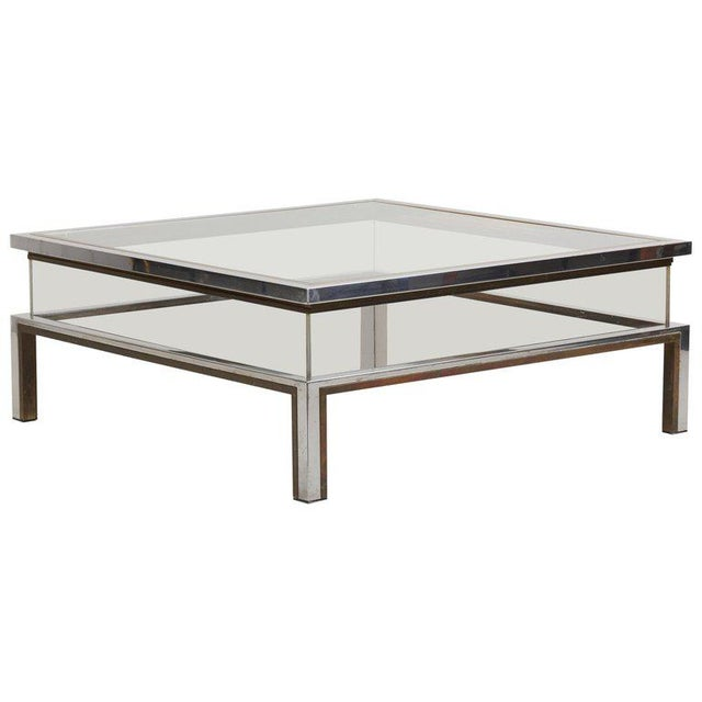 Maison Jansen Sliding Top Coffee Table in Brass and Chrome For Sale - Image 9 of 9
