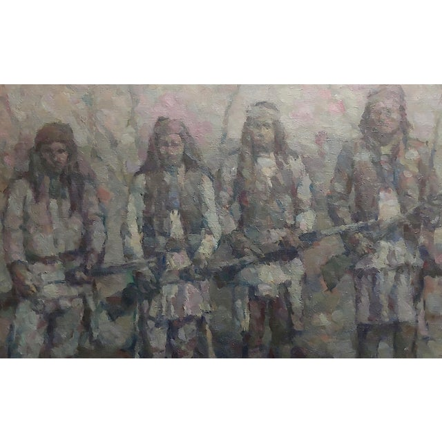 Stevan Kissel - Group of Apache Renegades - Oil painting Pointillism oil painting on board -Signed circa 1960s frame size...