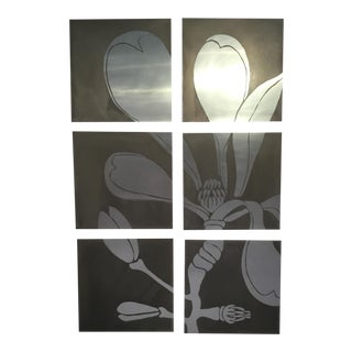 Beth Weintraub 'Magnolia' Etched Metal Sculptural Painting - 6 Pieces For Sale