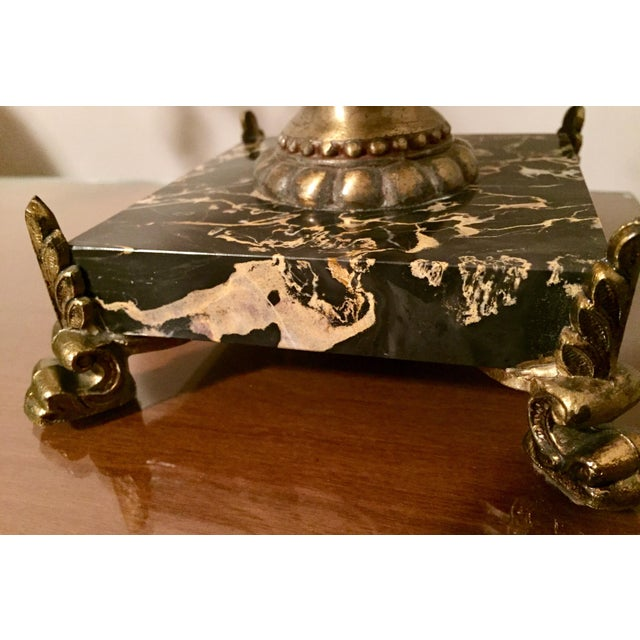 Italian Hollywood Regency Gilt Tole, Marble & Crystal Table Lamps For Sale - Image 9 of 10