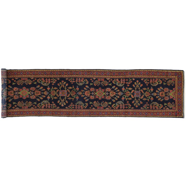 1910s Antique Persian Malayer Rug Runner With Mina Khani - 3'5 X 16'4 For Sale - Image 5 of 10