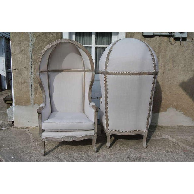Pair of French White Linen Canopy Hood Bishops Chairs For Sale - Image 10 of 10