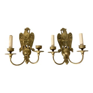 Caldwell Federal Style Gilt Bronze Sconces - a Pair For Sale