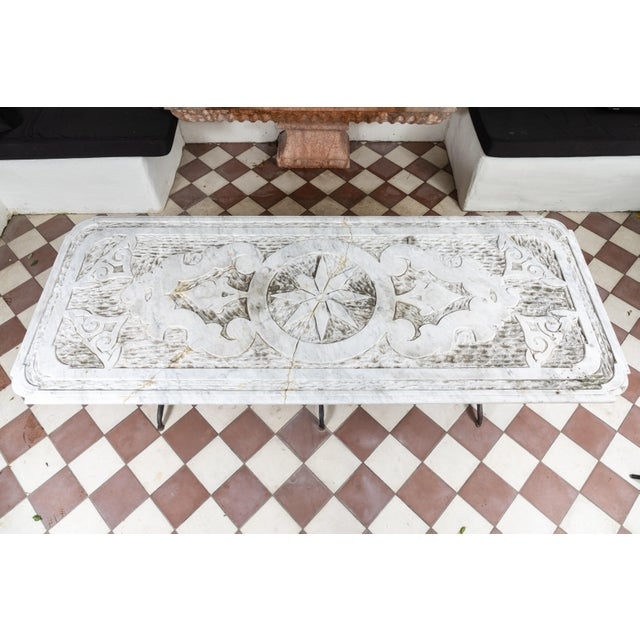 White 19th Century Castel Franco Hand Chiseled Marble Table with Iron Base For Sale - Image 8 of 12