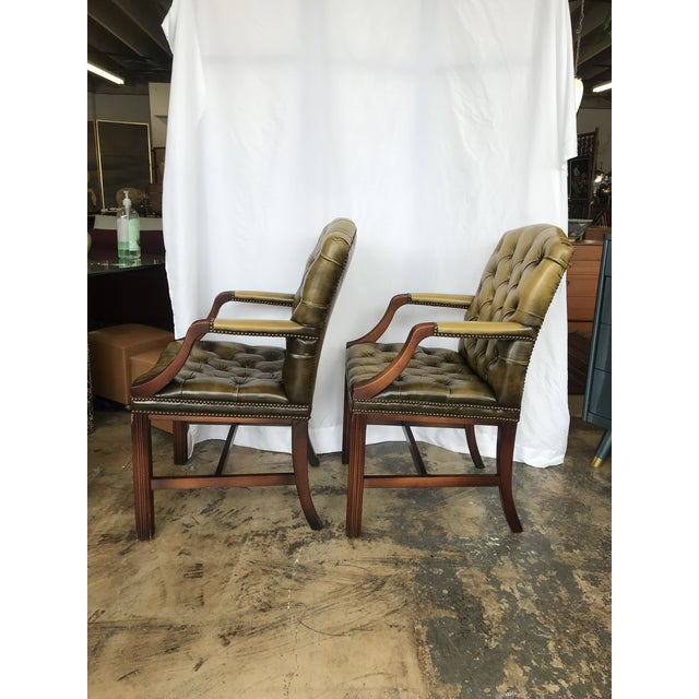 Traditional Chesterfield Guest Chairs - a Pair For Sale - Image 3 of 11