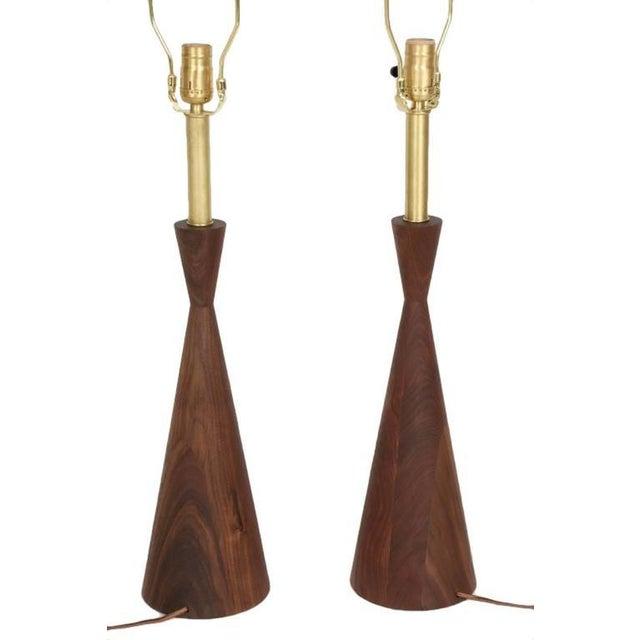 Customizable Samson Turned Walnut Table Lamps - Image 8 of 8