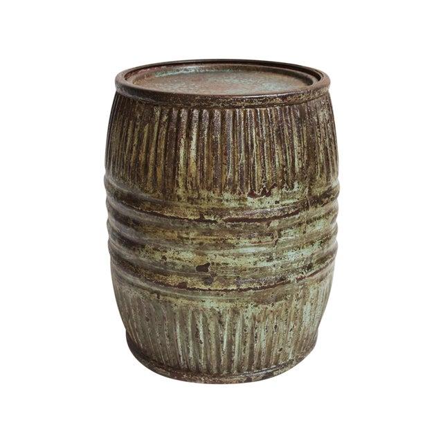 Vintage Iron Barrel Side Table - Image 1 of 4