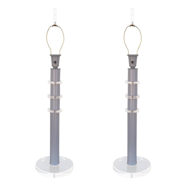 Karl Springer Style Stacked Lucite Lamps - A Pair - Image 1 of 8