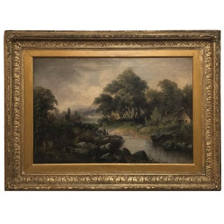 19th Century Framed Rustic Landscape Oil Painting on Canvas by H. Brooks For Sale
