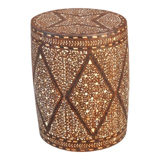 Striking Star Bone Inlay Drum Table For Sale