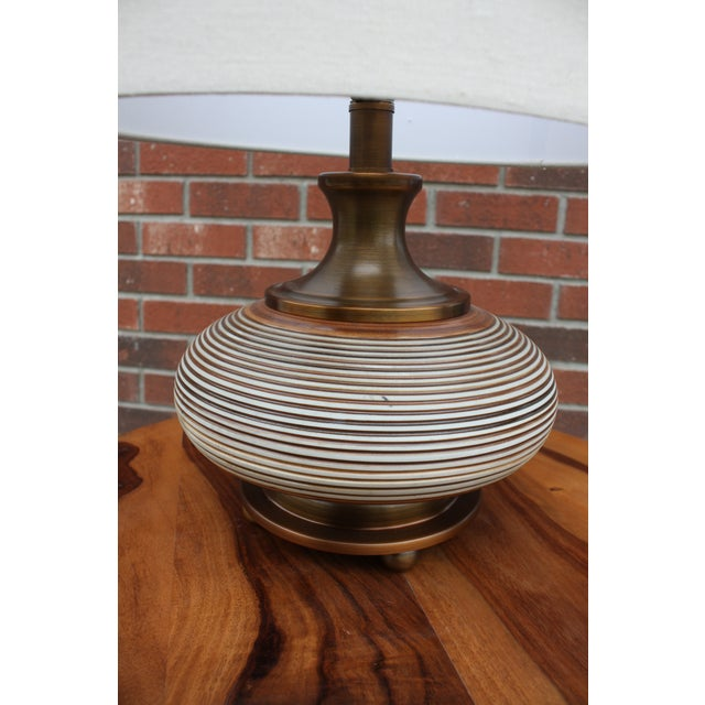 Asian Boho Chic Squat Bronze Table Lamp For Sale - Image 3 of 6