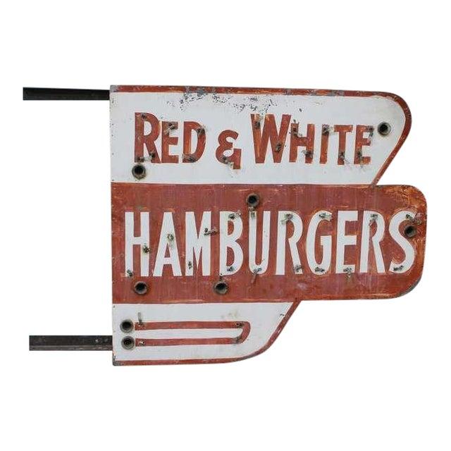 Red & White Hamburgers Sign - Image 1 of 3