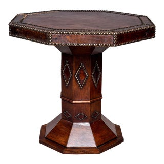 French Leather and Brass Nail Head Art Deco Octagonal Side Table For Sale