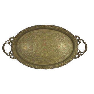 Moroccan Brass Tray For Sale