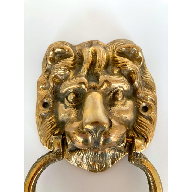 Vintage solid brass lion door knocker. Add some curb appeal and let visitors announce their arrival in Mid-...