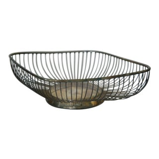 Mid 20th Century Silver Plated Italian Wire Fruit Basket For Sale