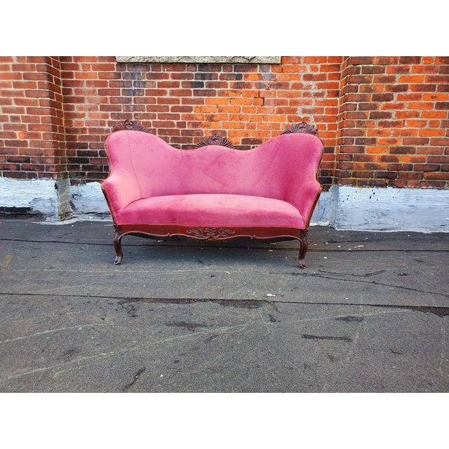 Antique Victorian Pink Velvet Carved Wood Purple Settee For Sale - Image 9 of 9