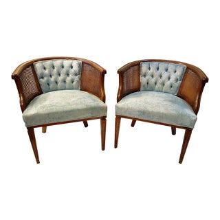 Vintage Wood & Cane Barrel Chairs - A Pair