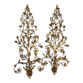 Art Deco Gold Metal Wall Sconces - a Pair