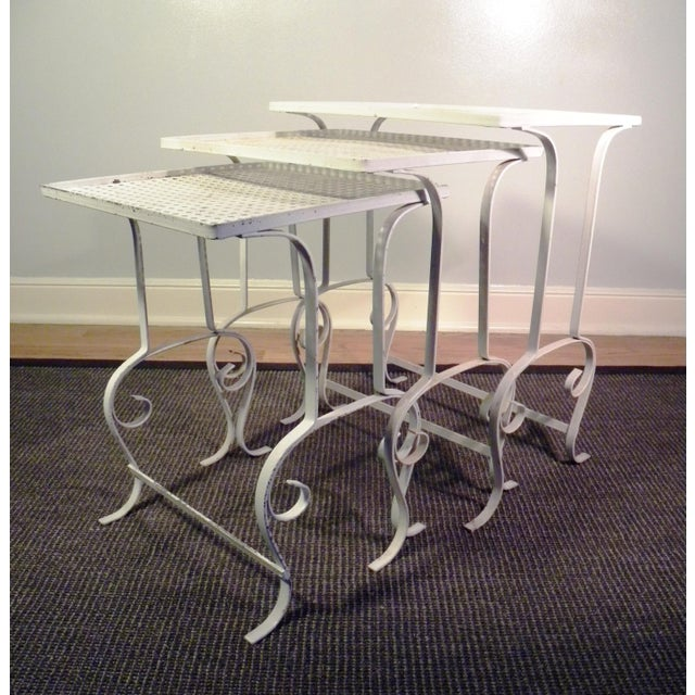 White Metal Nesting Tables - Set of 3 - Image 5 of 8