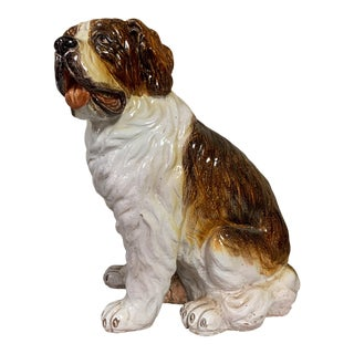 Large Scale Italian Terracotta St. Bernard Dog Figurine For Sale