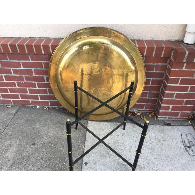 Gold Brass Tray Table With Faux Bamboo Stand For Sale - Image 8 of 10