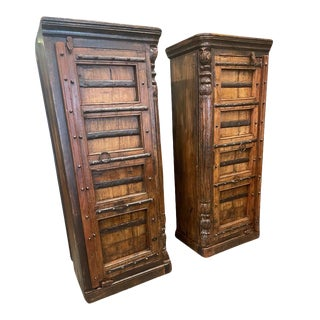 1920s Rustic Farmhouse Carved Reclaimed Wood Armoire Corner Cabinets Wall Cabinets - a Pair For Sale