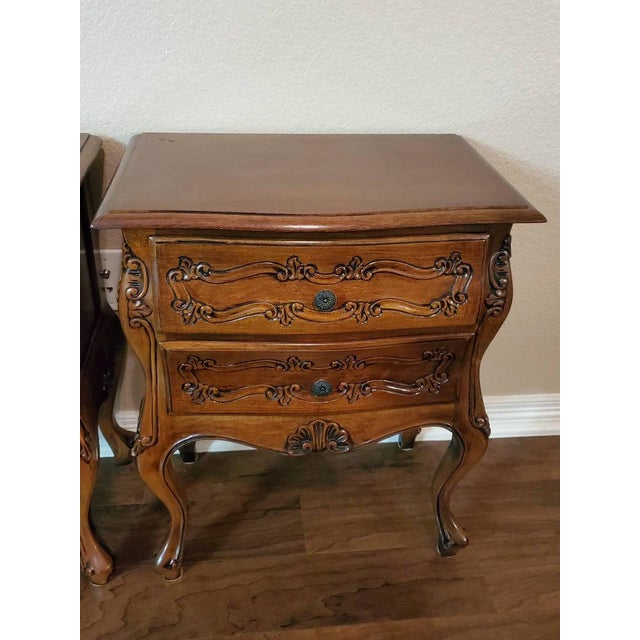Italian Louis XV Style Carved Walnut Bedside Tables - a Pair For Sale - Image 4 of 11