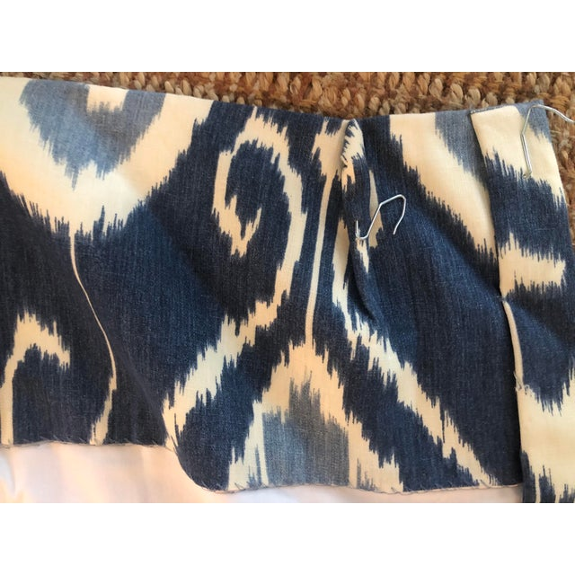 Transitional Blue Ikat Curtain Panels - A Pair For Sale - Image 3 of 5