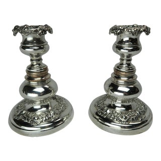 Pair of English Silver Repousse Candlesticks, Circa 1900 For Sale