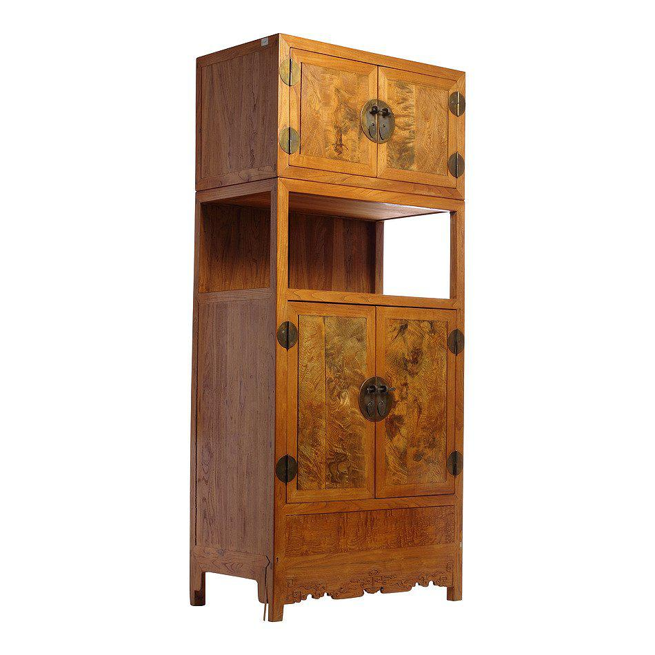 Tall Two Section Burl Wood Cabinet With Four Doors From China, 19th Century    Image