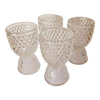 Vintage Pressed Glass Hobnail Egg Cups - Set of 4 For Sale