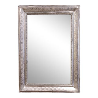 Mid-19th Century French Louis Philippe Silver Leaf Mirror With Geometric Decor For Sale